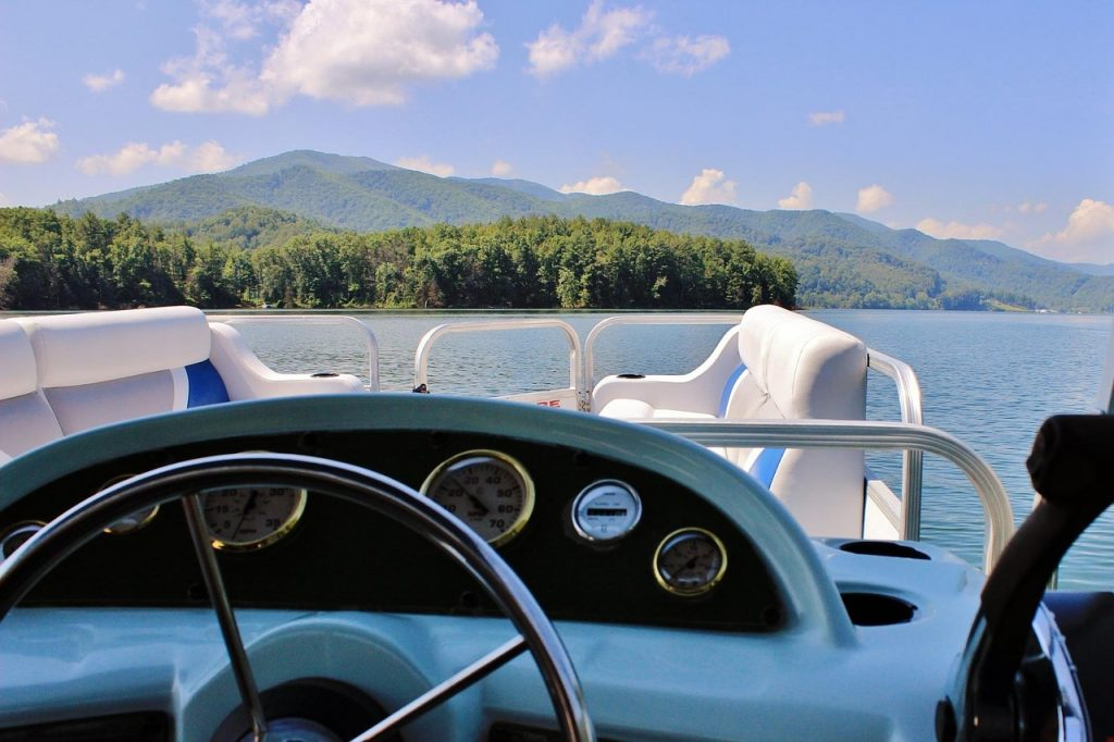 view from steering wheel of a pontoon boat